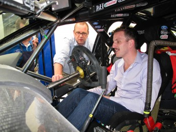 Tim Edwards guides Paul Dumbrell through one of the FPR Falcons