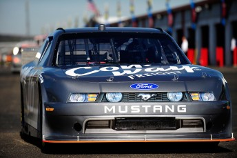 The #16 Con-Way Ford Mustang Nationwide COT leaves the garage during testing for the NASCAR