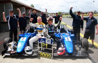 Joey Foster and Mitch Evans celebrate with Team BRM after winning the championship and the SuperPrix respectively
