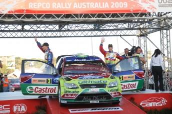 Rally Australia winners Mikko Hirvonen (right) and Jarmo Lehtinen