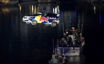Travis Pastrana on his world record jump in Long Beach last night (Pic: Red Bull)