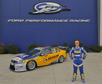 Steven Richards with the Dunlop Super Dealers FPR Falcon he will campaign in 2010. Pic: Joel Strickland