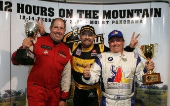 Paul Morris, John Bowe and Garry Holt celebrate their win in yesterday's Armor All Bathurst 12 Hour