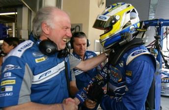 Prodrive boss David Richards congratulates Mark Winterbottom after his pole position effort