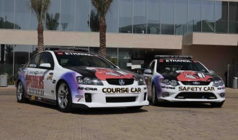 The new Holden and Ford Pedders Course Cars that will be at every V8 Supercars meeting