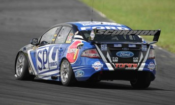 Shane van Gisbergen at yesterday's official test day at Queensland Raceway