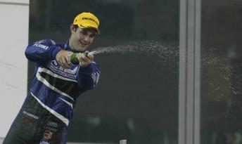 Shane van Gisbergen on the podium in Race 2 at Yas Marina Circuit