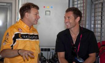Brad Jones with Sportscar legend Tom Kristensen at the Yas Marina Circuit yesterday