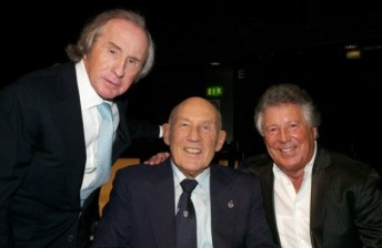 Sterling Moss (centre) with fellow F1 greats Sir Jackie Stewart (left) and Mario Andretti (right)