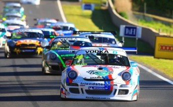 Reigning class champ David Wall leads the field up Mountain Straight at last year's Australian GT round in October
