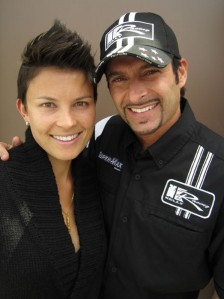 Kelly Racing signing and IndyCar driver Alex Tagliani with his Aussie wife Bronte, who he met at the Gold Coast event