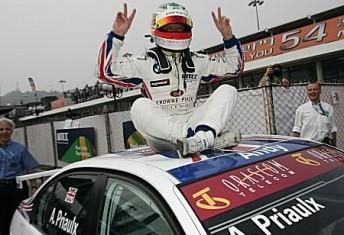 Andy Priulx celebrates his 2008 FIA World Touring Car Championship victory