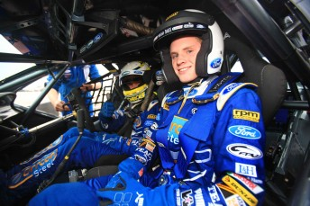 Will Ford aboard the Orrcon Steel FPR Falcon with Mark Winterbottom at the wheel