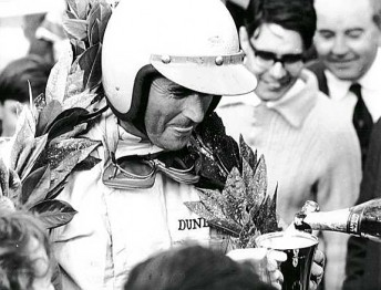 Sir Jack celebrates his first win of the 1966 season at Reims