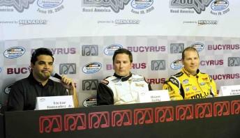 Victor Gonzalez Jr, Owen Kelly and Jacque Villeneuve at a press conference