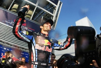 Mark Webber celebrates after winning the Hungarian Grand Prix