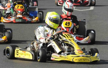 Matthew Wall on his way to victory in the 2010 CIK Stars of Karting Series. Pic: photowagon.com.au