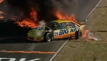 The Big Kev Commodore on fire at Oran Park in 2000