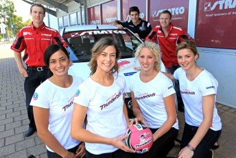 David Reynolds (left back), joined by the Adelaide Thunderbirds netball team, at the announcement of his new deal with Kelly Racing today