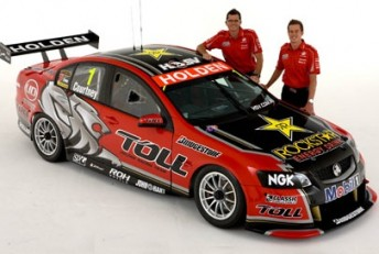 Garth Tander and James Courtney with their new Toll HRT Commodores