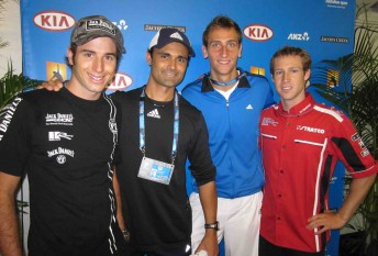 From left: Rick Kelly, Damian Prasad, Thiemo de Bakker and David Reynolds at Rod Laver Arena