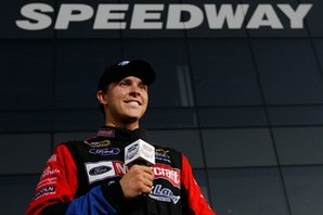 Bayne speaking to media after the race