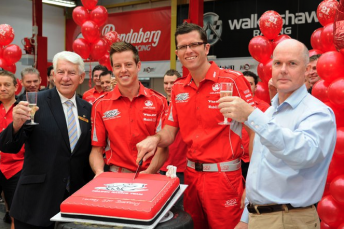 City of Kingston Mayor Cr Ron Brownlees celebrates Toll HRT's 21st birthday with James Courtney, Garth Tander and Walkinshaw Racing's CEO Craig Wilson
