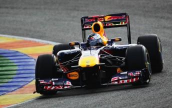 Sebastian Vettel laps the Valencia circuit in the RB7
