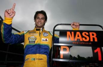 Felipe Nasr celebrates his success at Oulton Park