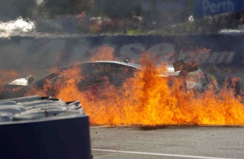 Steve Owen's flaming wreck at Barbagallo Raceway
