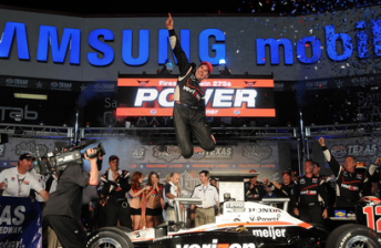Will Power leaps with joy after taking his first oval win