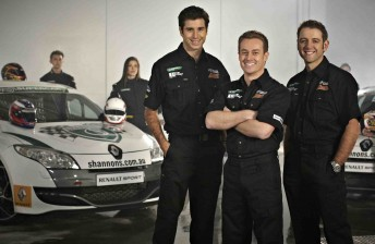 Rick Kelly, Grant Denyer and Todd Kelly with the contestants for their V8 reality TV show