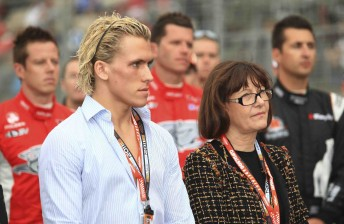 Ryan Walkinshaw with his mother Martine, flanked by the three Walkinshaw Racing drivers James Courtney, Garth Tander and Fabian Coulthard