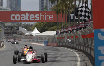 Cameron Waters crosses the line to secure the 2011 Formula Ford title