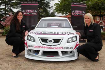 Lauren Gray (driver) and Elizabeth Griffins (team manager) from the Le Femme motorsport team