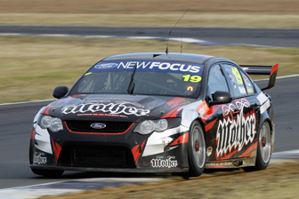 Jonny Reid tested Jonathon Webb's Mother Energy Drinks Falcon at Queensland Raceway