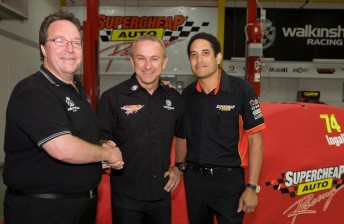 Mike Henry, Russell Ingall and Supercheap Auto managing director David Ajala