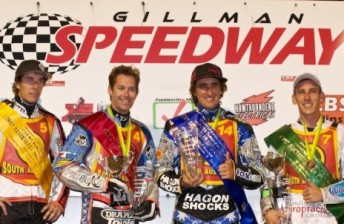 Chris Holder (2nd from right) is flanked by Sam Masters (4th), Davey Watt (2nd) and Cameron Woodward (3rd) at Gillman. (Pic: speedwaygp.com)