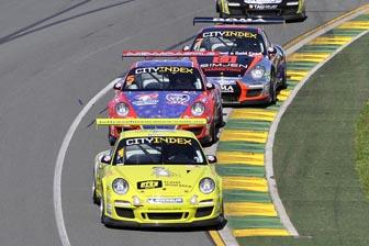 Craig Baird leads Jonny Reid and Alex Davison at the Australian Grand Prix