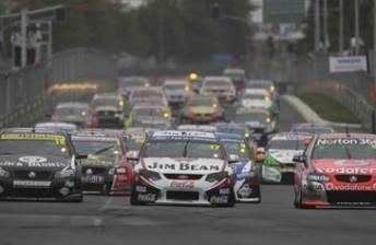 The start of Saturday's race at last year's ITM400 Hamilton
