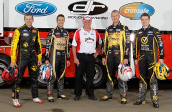 Dick Johnson flanked by current drivers (from left) Steve Owen, Dean Fiore, Steven Johnson and James Moffat