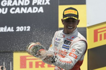 Lewis Hamilton celebrates his Canadian Grand Prix win