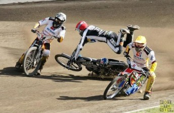 Darcy Ward (airborne) on the way to breaking his hand in Poland