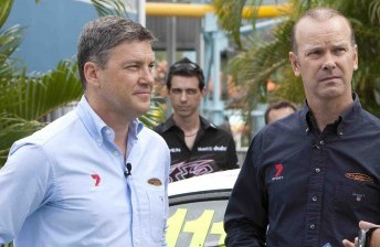 Network Seven's Neil Crompton with pit-lane reporter Mark Larkham
