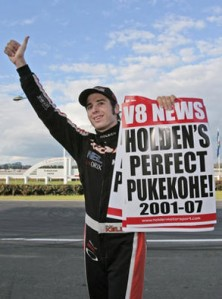 Rick Kelly celebrates victory in V8 Supercars' last race at Pukekohe