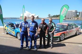 Steve Richards, Mark Winterbottom, Russell Ingall and Larry Perkins in Sydney today