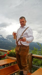 Michael Taylor in full regalia. Lederhosen, beer and an iPhone.