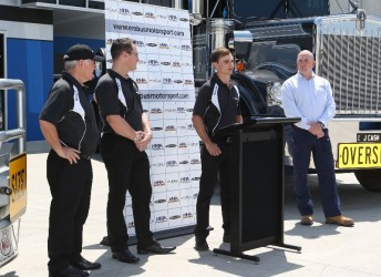 From left: Erebus Motorsport's Ross Stone, Ryan Maddison and Tim Slade with HHA's Jon Kelly at today's announcement