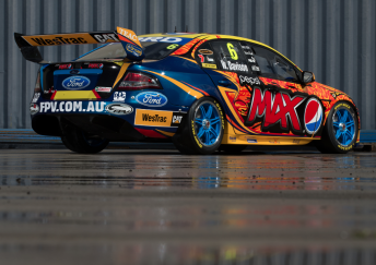A rear three quarter image of Will Davison's #6 Falcon