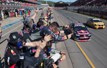 Craig Lowndes has won Red Bull Racing Australia's first race in V8 Supercars